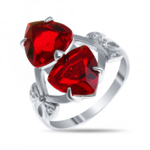 925 Sterling Silver women's rings with quartz pl. ruby and cubic zirconia