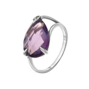 925 Sterling Silver women's rings with amethyst and quartz pl. amethyst