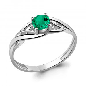 925 Sterling Silver women's rings with nano emerald