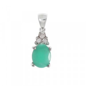 925 Sterling Silver pendants with emerald and