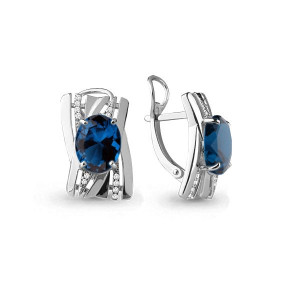 925 Sterling Silver pair earrings with nano london topaz and nano topaz