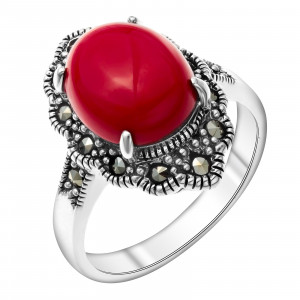 925 Sterling Silver women's rings with imit. coral and coral