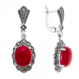 925 Sterling Silver pair earrings with coral and imit. coral