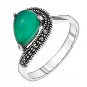925 Sterling Silver women's rings with green agate and synthetic green agate