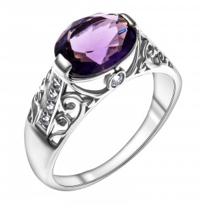 925 Sterling Silver women's rings with quartz pl. amethyst