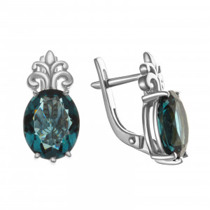 925 Sterling Silver pair earrings with quartz pl. london topaz