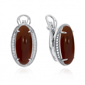 925 Sterling Silver pair earrings with carnelian and cubic zirconia