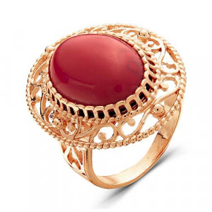 925 Sterling Silver women's rings with glass and synthetic coral