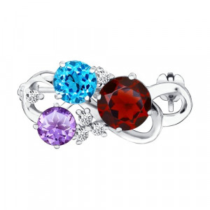 925 Sterling Silver brooches with garnet and topaz
