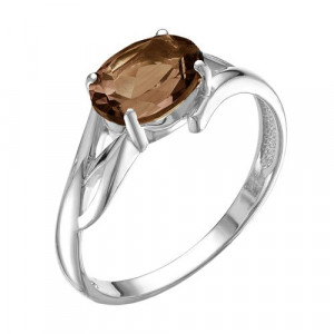 925 Sterling Silver women's rings with rauchtopaz
