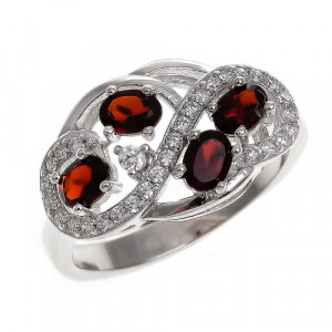 925 Sterling Silver women's ring with garnet and cubic zirconia