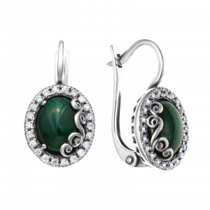 925 Sterling Silver pair earrings with coral and malachite