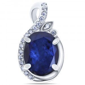 925 Sterling Silver pendants with sapphire and