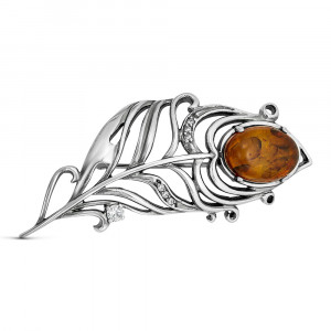 925 Sterling Silver brooches with cubic zirconia and synthetic amber