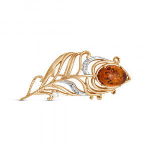 925 Sterling Silver brooches with cubic zirconia and amber
