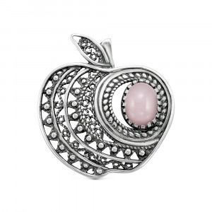 925 Sterling Silver brooches with pink quartz