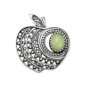 925 Sterling Silver brooches with synthetic jade and jade