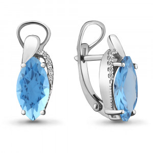 925 Sterling Silver pair earrings with nano topaz and