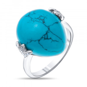 925 Sterling Silver women's rings with cubic zirconia and turquoise