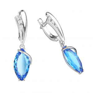 925 Sterling Silver pair earrings with topaz london gt