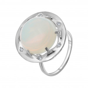 925 Sterling Silver women's rings with jade and moonstone