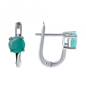 925 Sterling Silver pair earrings with  and emerald