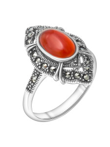 925 Sterling Silver women's rings with carnelian