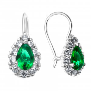 925 Sterling Silver pair earrings with synthetic spinel and glass