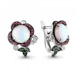 925 Sterling Silver pair earrings with white opal and nano crystal