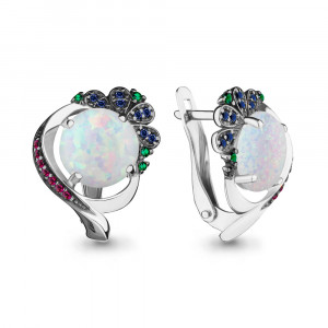 925 Sterling Silver pair earrings with nano crystal and nano-tourmaline