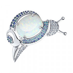 925 Sterling Silver brooches with synthetic opal and cubic zirconia