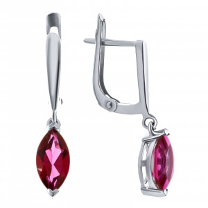 925 Sterling Silver pair earrings with flamingo topaz