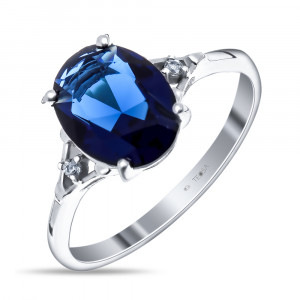 925 Sterling Silver women's ring with quartz pl. sapphire