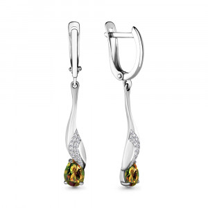 925 Sterling Silver pair earrings with cubic zirconia and sultanic