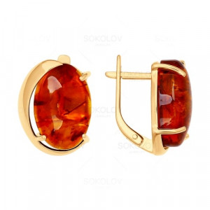 925 Sterling Silver pair earrings with amber and synthetic amber