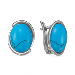 925 Sterling Silver pair earrings with turquoise imitation
