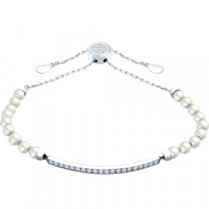 925 Sterling Silver bracelets with cubic zirconia and pearl imit.