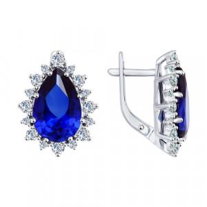 925 Sterling Silver pair earrings with quartz and sapphire gt