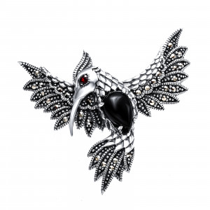 925 Sterling Silver brooches with marcasite and onyx