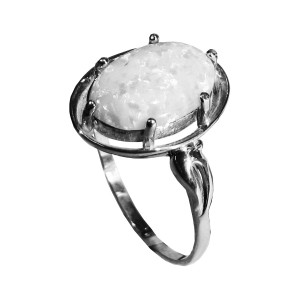 925 Sterling Silver women's rings with moonstone and jade