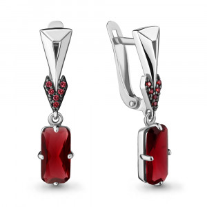 925 Sterling Silver pair earrings with nano crystal and nano grenades