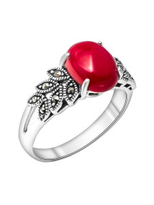 925 Sterling Silver women's rings with imit. coral and marcasite