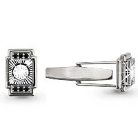 925 Sterling Silver cufflinks with cubic zirconia and nano crystal