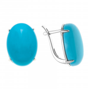925 Sterling Silver pair earrings with amazonite and chrysocolla