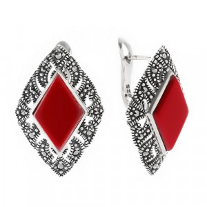 925 Sterling Silver pair earrings with imit. coral and marcasite