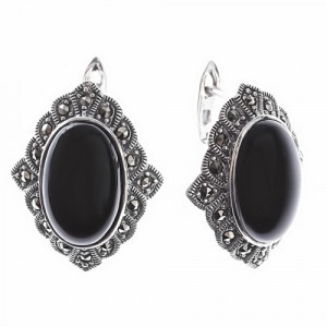 925 Sterling Silver pair earrings with marcasite and onyx