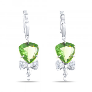 925 Sterling Silver pair earrings with praseolite and prasiolite