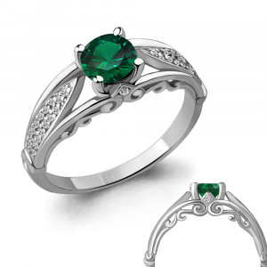 925 Sterling Silver women's rings with nano emerald and cubic zirconia