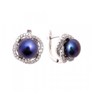 925 Sterling Silver pair earrings with cubic zirconia and black cultivated pearls