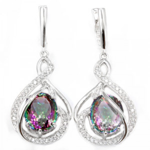 925 Sterling Silver pair earrings with mystic quartz and cubic zirconia